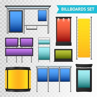 Kleurrijke promotionele billboards instellen