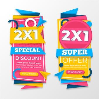 Kleurrijke promotionele geplaatste banners