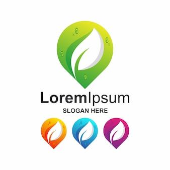 Kleurrijke punt met blad logo-ontwerp