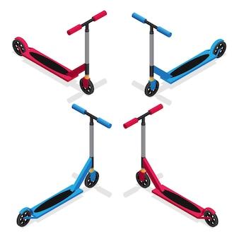 Kleurrijke push kick scooter set.