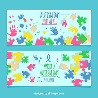 Kleurrijke puzzel stukjes banners
