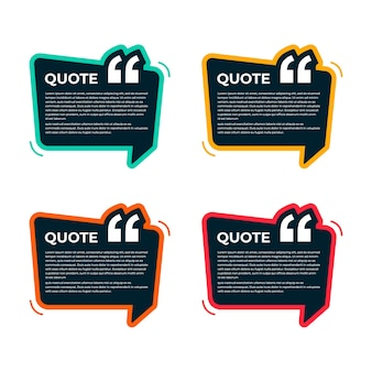 Kleurrijke quote box template collectie