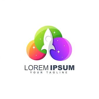 Kleurrijke raket lancering abstract logo ontwerpsjabloon