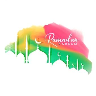 Kleurrijke ramadan kareem festival ontwerp achtergrond