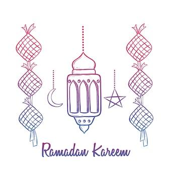 Kleurrijke ramadan kareemviering met lantaarn en tekst