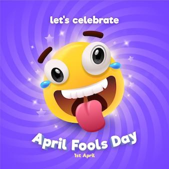 Kleurrijke realistische april dwazen dag illustratie Premium Vector