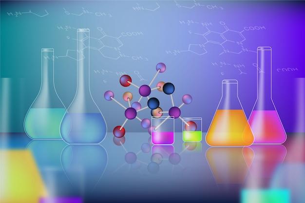 Kleurrijke realistische wetenschappelijke achtergrond met moleculen en buizen