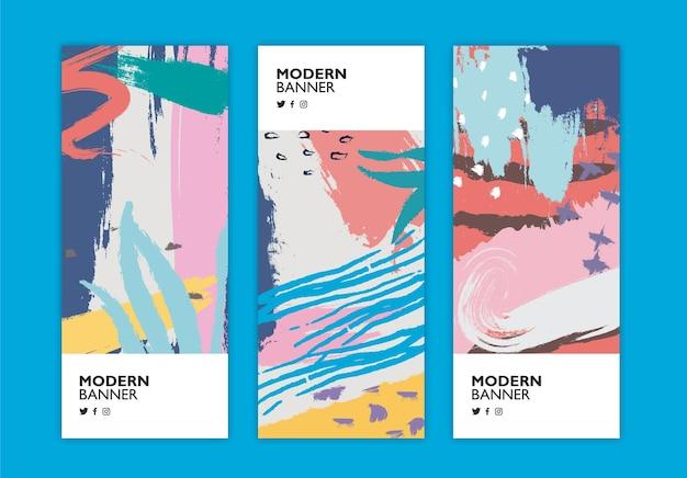 Kleurrijke reeks banners in de stijl van memphis
