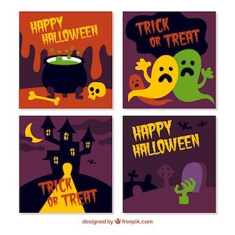 Kleurrijke reeks halloween kaarten