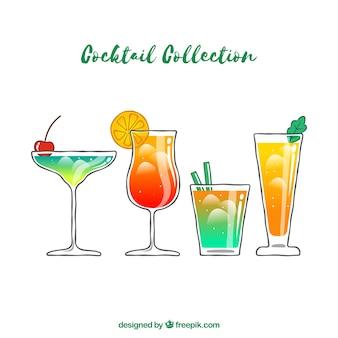 Kleurrijke reeks hand getrokken cocktails
