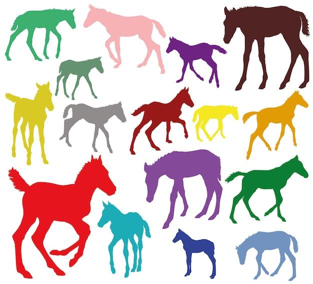 Kleurrijke reeks silhouetten van veulens