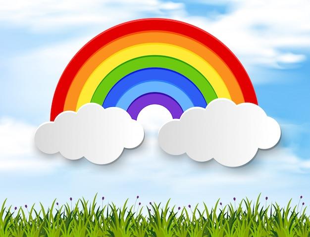 Kleurrijke regenboog in blauwe hemel