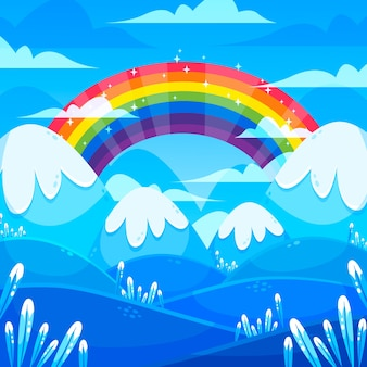 Kleurrijke regenboog in platte ontwerp