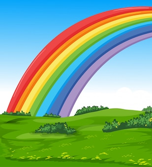 Kleurrijke regenboog met weide en hemel de achtergrond van de beeldverhaalstijl
