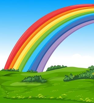 Kleurrijke regenboog met weide en hemelbeeldverhaalstijl