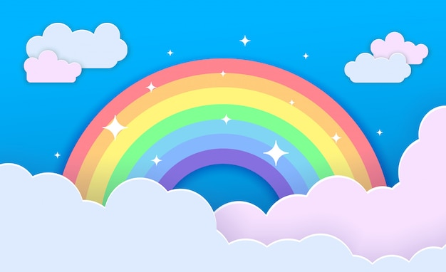 Kleurrijke regenboog met wolken