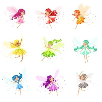 Kleurrijke regenboog set van schattige girly feeën met winden en lang haar dansen omringd door vonken en sterren in mooie jurken