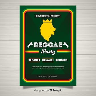 Kleurrijke reggae partij poster met platte ontwerp
