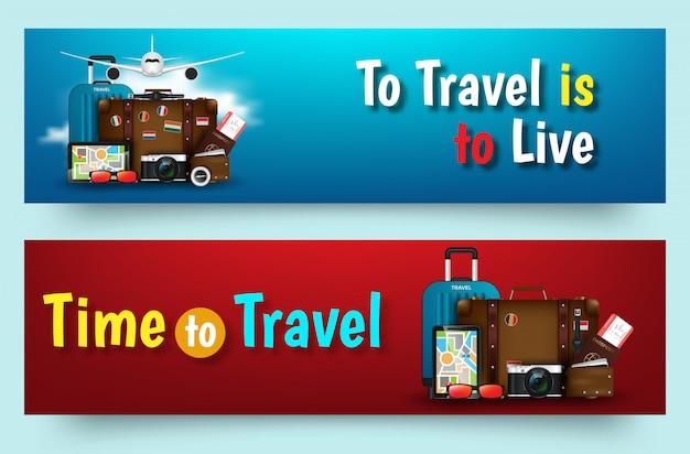 Kleurrijke reis vector platte banner ingesteld voor uw bedrijf