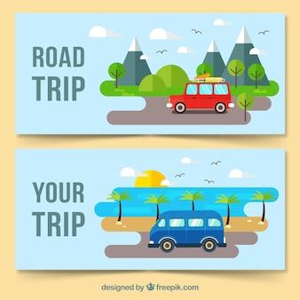 Kleurrijke reisbanners met vlak ontwerp