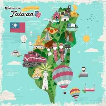 Kleurrijke reiskaart voor attracties en gerechten in taiwan