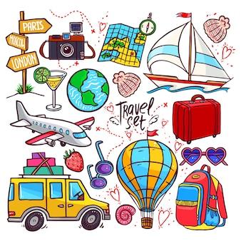Kleurrijke reizen pictogramserie. vliegtuig, auto, schip
