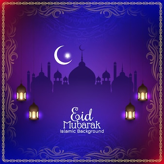 Kleurrijke religieuze eid mubarak festival moskee achtergrond