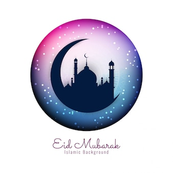 Kleurrijke religieuze eid mubarak islamitische