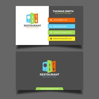 Kleurrijke restaurant adreskaartje