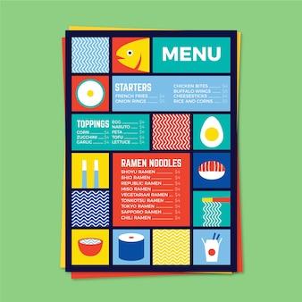 Kleurrijke restaurant menusjabloon