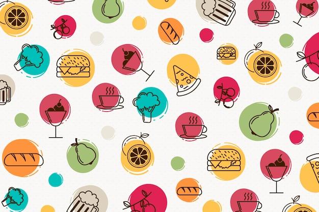 Kleurrijke restaurant muurschildering achtergrond