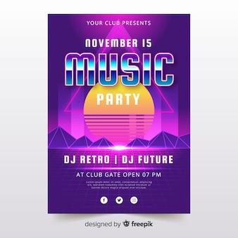 Kleurrijke retro futuristische muziek poster sjabloon
