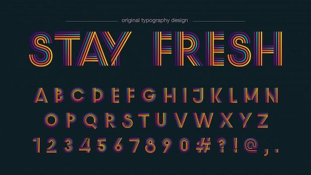 Kleurrijke retro lijnen typografie