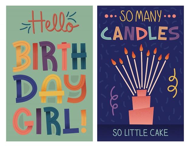 Kleurrijke retro verjaardagskaarten instellen