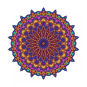 Kleurrijke ronde abstracte cirkel met mandala stijl