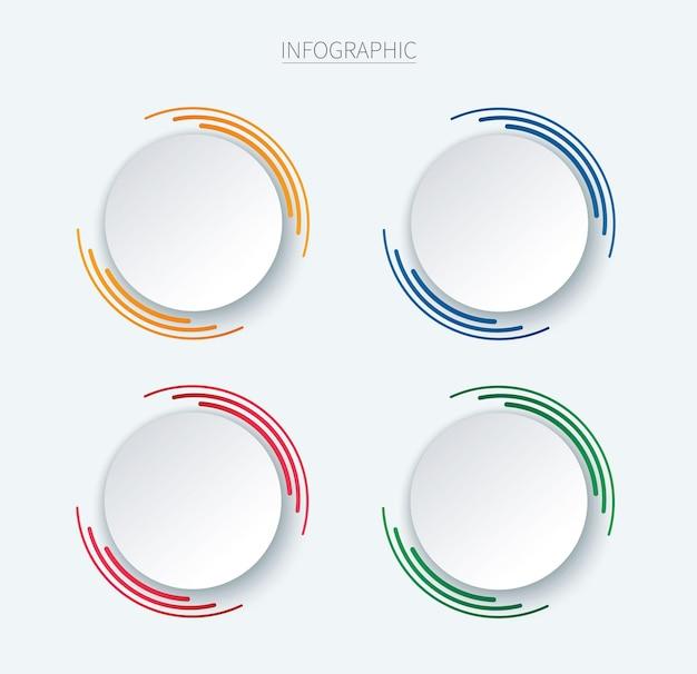 Kleurrijke ronde infographic vectorsjabloon met 4 opties