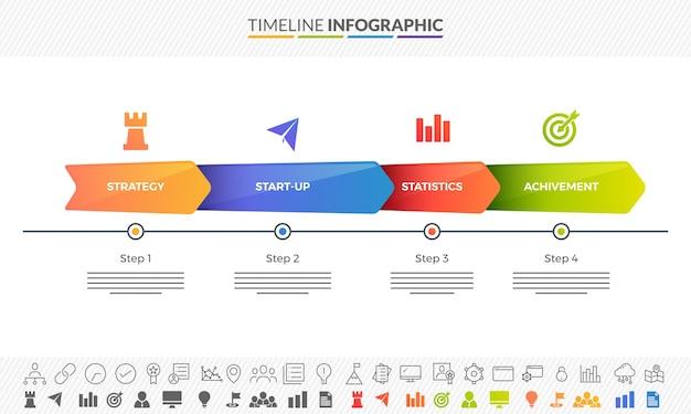 Kleurrijke routekaart tijdlijn infographics layout met 3 stap pijlen en twee varianten van iconen.