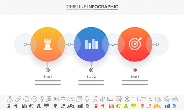 Kleurrijke routekaart tijdlijn infographics layout met 3 stappen en twee varianten van iconen.