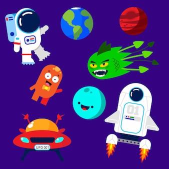 Kleurrijke ruimte-elementen