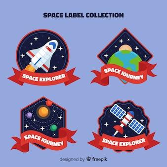 Kleurrijke ruimtebadgeinzameling met vlak ontwerp