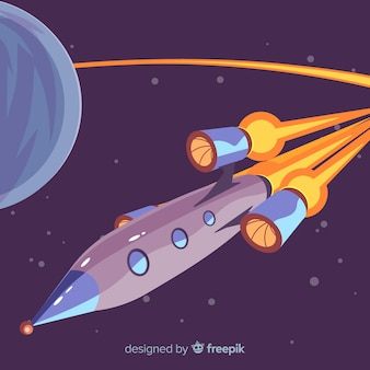Kleurrijke ruimteraketsamenstelling met vlak ontwerp