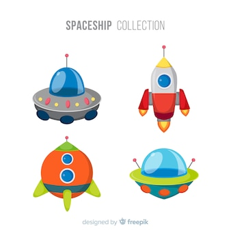 Kleurrijke ruimteschipcollectie met plat ontwerp