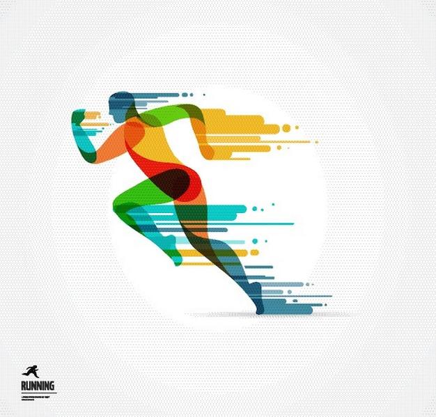 Kleurrijke runner illustratie
