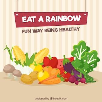 Kleurrijke samenstelling met gezond voedsel
