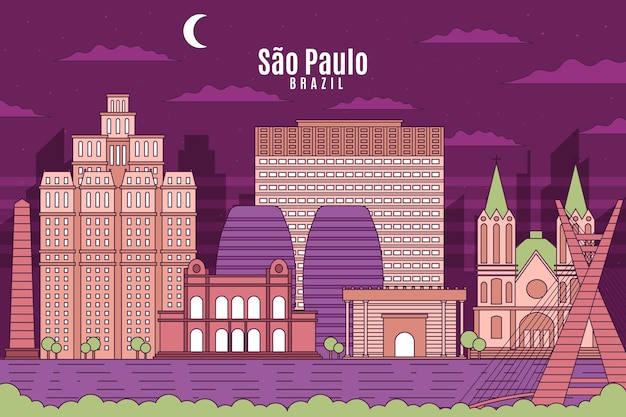 Kleurrijke sao paulo skyline in de nacht