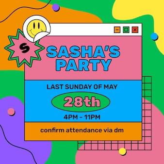 Kleurrijke sasha party evenement instagram post