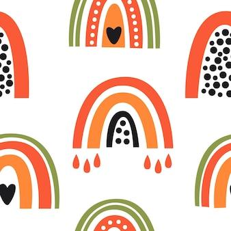 Kleurrijke schattige exotische regenbogen naadloze patroon illustratie op witte achtergrond