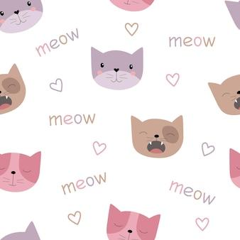 Kleurrijke schattige katten naadloos patroon