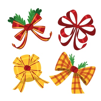 Kleurrijke schattige kerstlinten en strikken