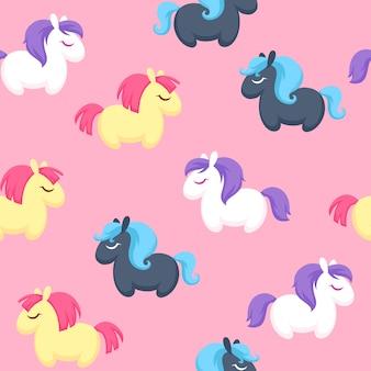 Kleurrijke schattige pony's naadloze achtergrond.